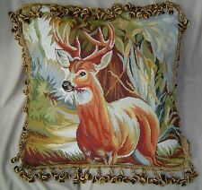 "22"" Wool PetitPoint Pillows 15K NeedlePoint Pillows OVER $200 VALUE Deer"