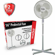 "16"" OSCILLATING FAN COOLING FREESTANDING PEDESTAL 3 SPEED ELECTRIC HOME OFFICE"