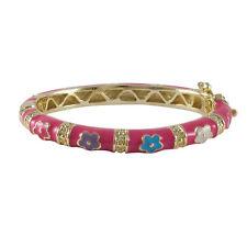 Gold Finish Hot Pink Enamel Flowers Baby Girl 35mm Bangle Bracelet