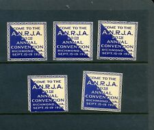 5 VINTAGE 1925 ANJRA ANNUAL CONVENTION POSTER STAMPS (L940) RICHMOND VIRGINIA