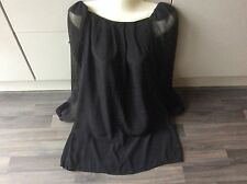 Topshop black short dress see through long sleeves uk 10