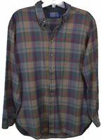 Pendleton Mens 100% Virgin Wool Shirt Sz XL Plaid Button Down Long Sleeve Brown