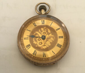 Pretty Antique 9ct Gold Cased Floral Engraved Pocket Fob Watch