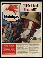 1940 MOBILGAS - Horse With Hat - Red Pegasus - Wish I Had His Pull - VINTAGE AD