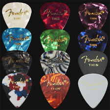 12 x Thin Fender Celluloid Guitar Picks / Plectrums - 1 Of Each Colour