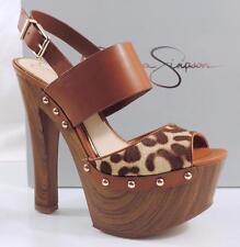 Women's Jessica Simpson DALLIS Platform Sandal Heels LT Natural Cheetah Size 7