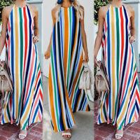 ZANZEA Women Sleeveless Summer Beach Party Long Maxi Dress Stripe Slip Dress
