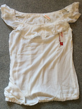 Sheego Size 16 White On Off Shoulder Gypsy Boho TOP Lace Frill Trim Summer £35
