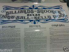 AUSTRALIAN TABLE RULE Poster WALL CHART Billiards -Kelly-Snooker -Pool -9 ball