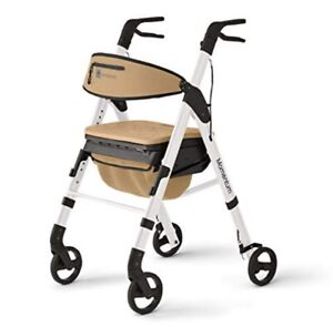 "Medline Momentum Rollator Walker, 6""Rolling Wheels, Cushioned Seat, White New"