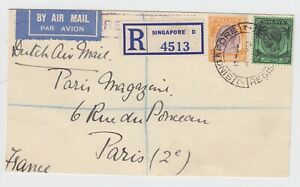 Singapore Registered front to Paris By Dutch Air Mail