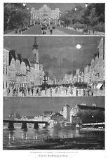 Steyr, elektrische Ausstellung, drei Ansichten, Original-Holzstich 1884