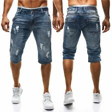 Kurze unifarbene Slim Fit-Herren-Shorts & -Bermudas aus Denim