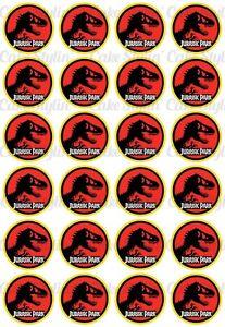 24 Jurassic Park Logo Cupcake Toppers Edible Rice Wafer Paper 4cm Dinosaur World