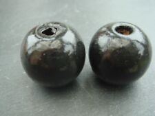 Wooden beads 14mm round black 3.25mm threading hole