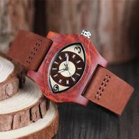 Unique Eye Design Wooden Bamboo Genuine Leather Band Men Women Quartz Wristwatch