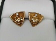 2 Vintage RCA Tie Tac Lapel Pins O C Tanner Co 10K Gold with Diamond