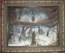 Original Oil Paint Animals Sunset Wolfs Ever Lasting Spirit size 22 x 28 Signed