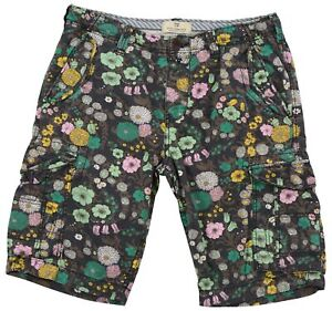 Scotch & Soda Men's shorts Printed Cargo Cotton Pocket Button Zip 34 flowers