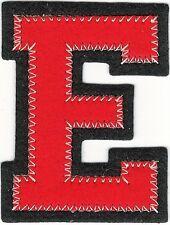 "1 7/8"" x 2 1/2"" Red Black Block Letterman's Letter E Felt Patch"
