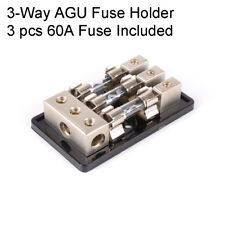 Car Audio Stereo 60A 3Way AGU In-Line Fuse Holder Power Distribution Block Glitz