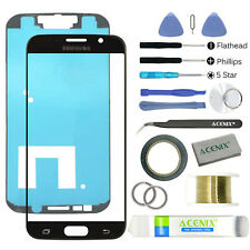 SAMSUNG GALAXY S6 Black Replacement Screen Front Glass lens Repair Kit+ 2mm Tape