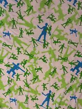 Toy Story Army Men Green Blue Soldiers Twin Sheet Flat Bedding Material Fabric