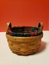 Longaberger 1993 Button Basket w Protector Liner Combo