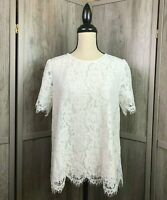 Women's Stitch Fix Wells Grace NWT Beautiful White Lacey Short Sleeve Top