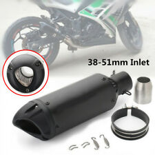 "38-51mm 2"" Inlet Motorcycle Racing Bikes Slip-on Black Exhaust Tail Pipe Muffler"