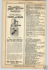 1924 Paper Ad Taylor Co Glass 1 2 3 4 Quart Butter Churn Food Mixer Lightning