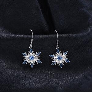 BEAUTIFUL SNOWFLAKE STERLING SILVER BLUE TOPAZ 1.54CT DANGLE HOOK EARRINGS 73901