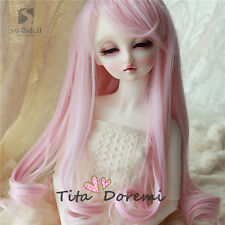 1 3 8-9 Bjd Wig Dal Dod Doc Pullip SD LUTS supper Dollfie Doll wigs pink LS09