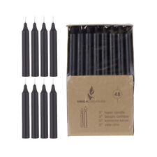 """Mega Candles - Unscented 5"""" Straight Taper Candles - Black, Set of 48 Cga098-Bk"""
