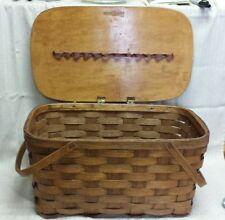 "Vintage SHELTON Sisters 1903 Stamped Woven Veneer Wood PICNIC BASKET 21""×12×10"""