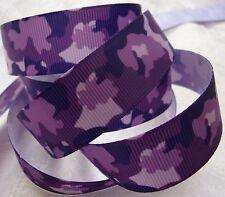 "Grosgrain Printed Ribbon *Purple Camouflage* 7/8"" Wide - 5 Yds - Hair Bows!"