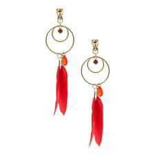Feather Drop/Dangle Clip - On Costume Earrings