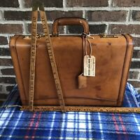RARE VINTAGE 1980s BRITISH TAN BELTING LEATHER HARDSIDE MACBOOK BRIEFCASE R$1898