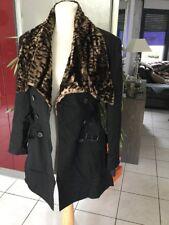 Manteau Parka PLEIN SUD taille 38/40 noir col Léopard comme neuf 540€