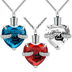 Urn Necklaces for Ashes Heart Cremation Memorial Keepsake Pendant Necklace Chain