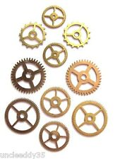 Lot 5 pairs (10 pcs) vintage clock small brass gears wheels Steampunk parts #4