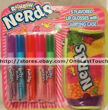 6pc RAINBOW NERDS+LAFFY TAFFY+FUN DIP 5 Flavored LIP GLOSSES +CARRYING CASE Set