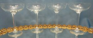 "Set of 4 ~ Elegant Vintage 5 3/8"" CHAMPAGNE COUPES ~ 6 sided panel stem ~ smooth"