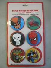 VINTAGE MARVEL COMICS SUPER BUTTON VALUE PACK FACTORY SEALED 6 METAL PINS