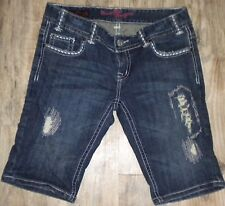 S 29 WOMENS ROCK & ROLL COWGIRL 68-5551 Lowrise BERMUDA JEAN SHORTS Actual 32X12