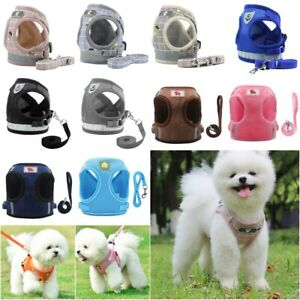 Small Dog Cat Harness and Walking Leads Set Pet Puppy Breathable Reflective Vest