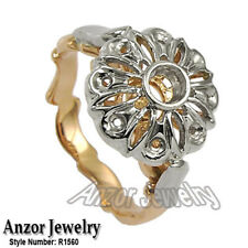 14k Two-Tone Gold Diamond Engagement Ring Semi-Mount Russian Style