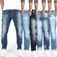Herren Designer Regular Fit Jeans Hose - Tapered Leg - Cropped - Comfort Fit