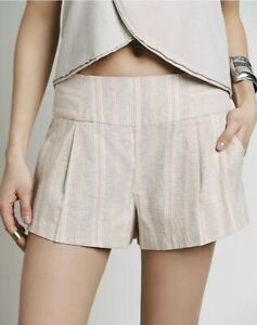 Free People Orange Austin Pleated Shorts With Pockets Zipper Closure Size Small