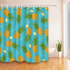 Tropical fruit pineapple Shower Curtain Bathroom Fabric & 12hooks 71*71inches